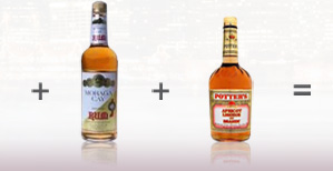 Bottle of Moraga Cay Rum and Potter's Apricot Brandy